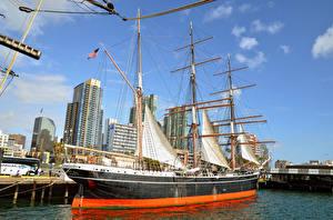 Bilder Schiffe Segeln Wolkenkratzer Kalifornien San Diego Museum Maritime Museum, Bay, Star of India Städte