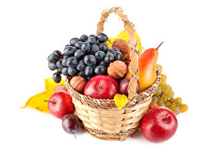 Pictures Fruit Apples Pears Plums Grapes Nuts Wicker basket