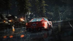 Wallpaper Need for Speed Ferrari Rain Back view Rivals (2013) Games Cars