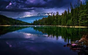 Hintergrundbilder Kanada Park See Gebirge Wälder Landschaftsfotografie Wolke Jasper park Alberta