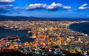 壁纸、、日本、住宅、メガロポリス、雲、Hakodate、都市