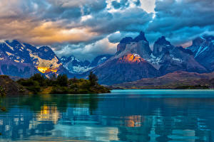 Pictures Chile Landscape photography Mountains Lake Clouds Patagonia Nature