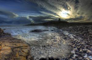 Images England Coast Landscape photography Castle Stones Sky Night HDR Dunstanburgh Castle Nature