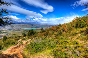 Picture Chile Scenery Clouds HDR Grass Patagonia Nature