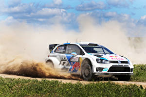 Pictures Volkswagen Tuning Grass Riding Rallying Polo WRC Sebastien Ogier Julien Ingrassia automobile