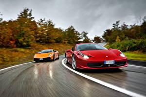 Photo Ferrari Lamborghini Roads 2 Driving 458 italia Gallardo auto