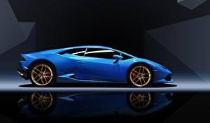 Picture Lamborghini Blue Side Huracan automobile