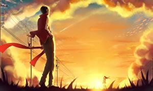 Tapety na pulpit Świt i zachód słońca Młody człowiek p.rupon kagerou project kisaragi shintaro tateyama ayano Anime