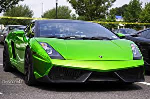 Fotos Lamborghini Gelbgrüne Vorne Luxus Gallardo Superleggera Green Crome Autos