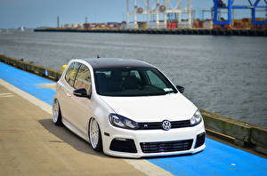 Pictures Volkswagen Tuning White golf R automobile
