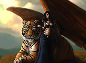 Image Tiger Magical animals Wings Brown haired Fantasy