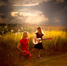 Picture Fields Little girls Guitar Two Dedicated to you young woman Children