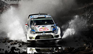 Picture Volkswagen Tuning Water splash Front Motion Rallying Polo WRC automobile