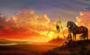 Images Warriors Horses Clouds Spear Fantasy