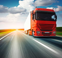 Pictures Trucks Roads Red Moving automobile