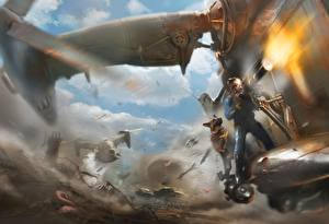 Bilder Fallout Hunde Schuss Shepherd Bethesda Game Studios Bethesda Softworks Minigun The Art of Fallout 4 Spiele Fantasy