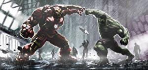 Pictures Avengers: Age of Ultron Hulk hero Iron Man hero hulkbuster tony stark bruce banner Fantasy