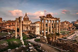 Bilder Italien Ruinen Rom Roman Forum, Septimius Severus Arch, Saturn Temple