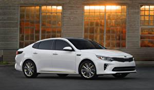 Bakgrunnsbilder KIA Hvite Sett fra siden 2015 Optima SXL bil