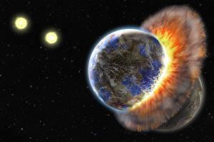 Bureaubladachtergronden Planeten contact collision energy Ruimte Fantasy 3D_graphics