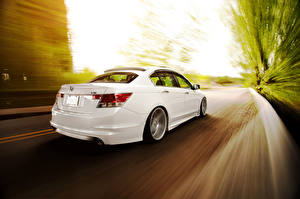 Images Honda White Back view Driving accord Vossen V6 Cars