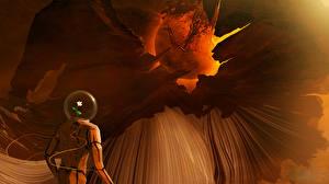 Bureaubladachtergronden Planeten Astronaut gaia Fantasy Ruimte