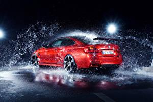 Fotos BMW Wasser spritzt Rot M4 AC-Schnitzer German Autos