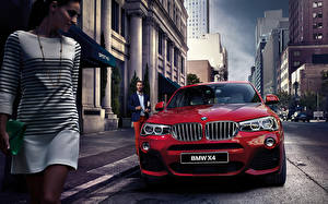 Image BMW Front Red Street 2015 X4 F26 Cars