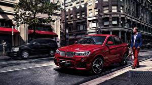 Pictures BMW Red Street 2015 X4 F26 Cars