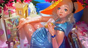 Tapety na pulpit Napój Spojrzenie Spódnica Kapelusz Uczennica rukiana Anime Dziewczyny
