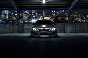 Pictures BMW Parking Front Night time M3 F80 Mode Carbon Cars