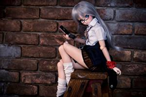 Pictures Toy Doll Phone Made of bricks Walls Girls