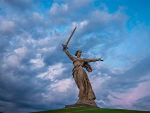 Fotos Denkmal Himmel Russland Wolgograd Wolke The Motherland Calls, Mamayev Kurgan
