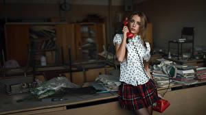 Wallpaper Telephone Schoolgirl The call from the past Xenia Kokoreva George Chernyad'ev young woman
