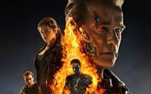 Bureaubladachtergronden Terminator Genisys Arnold Schwarzenegger Emilia Clarke Films Beroemdheden