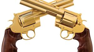 Pictures Closeup Pistols Revolver Gold color gold timber