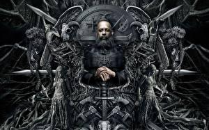 Bakgrundsbilder på skrivbordet Vin Diesel Män Gotisk fantasi The Last Witch Hunter Svärd Skägg Tron 2015 Filmer Fantasy
