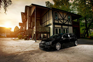 Wallpaper Volkswagen Building Black golf MK5 Cars