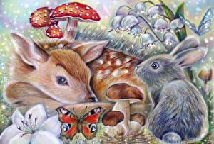 Bilder Hirsche Gezeichnet Hasen Pilze Natur Tiere