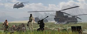 Wallpaper Soldier Helicopters Landing operation Army 3D_Graphics