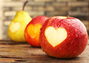 Wallpapers Apples Pears Fruit Heart