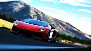 Image Lamborghini Front Luxurious Red Aventador soprt car auto