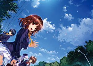 Tapety na pulpit Niebo Uczennice Szatenka kuroya shinobu Anime Dziewczyny
