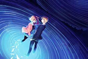Tapety na pulpit Młody człowiek rosuuri Kyoukai no Kanata kuriyama mirai kanbara akihito Anime Dziewczyny