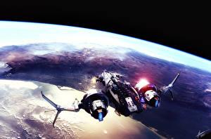 Bureaubladachtergronden Star Conflict Schip Planeet oppervlak Fan ART Computerspellen Fantasy Ruimte