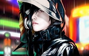Tapety na pulpit Tokyo Ghoul Maski Kaptur (ubrania) Twarz mężczyzny Chłopacy Anime