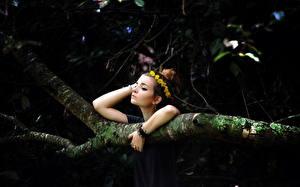 Bilder Wälder Ast Mädchens