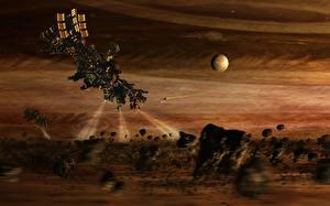 Bureaubladachtergronden Schepen Planetoïden spacecraft light space unknown sci fi Fantasy Ruimte 3D_graphics