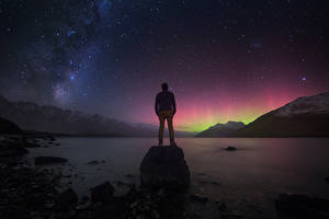 Image Milky Way New Zealand Mountains Stars Night Nature Space
