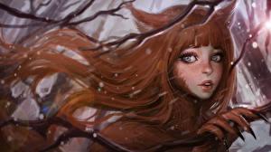 Bilder Kitsune Haar Starren Fantasy Mädchens
